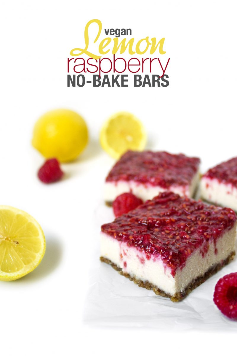 Vegan Lemon Raspberry No-Bake Bars | Wifemamafoodie