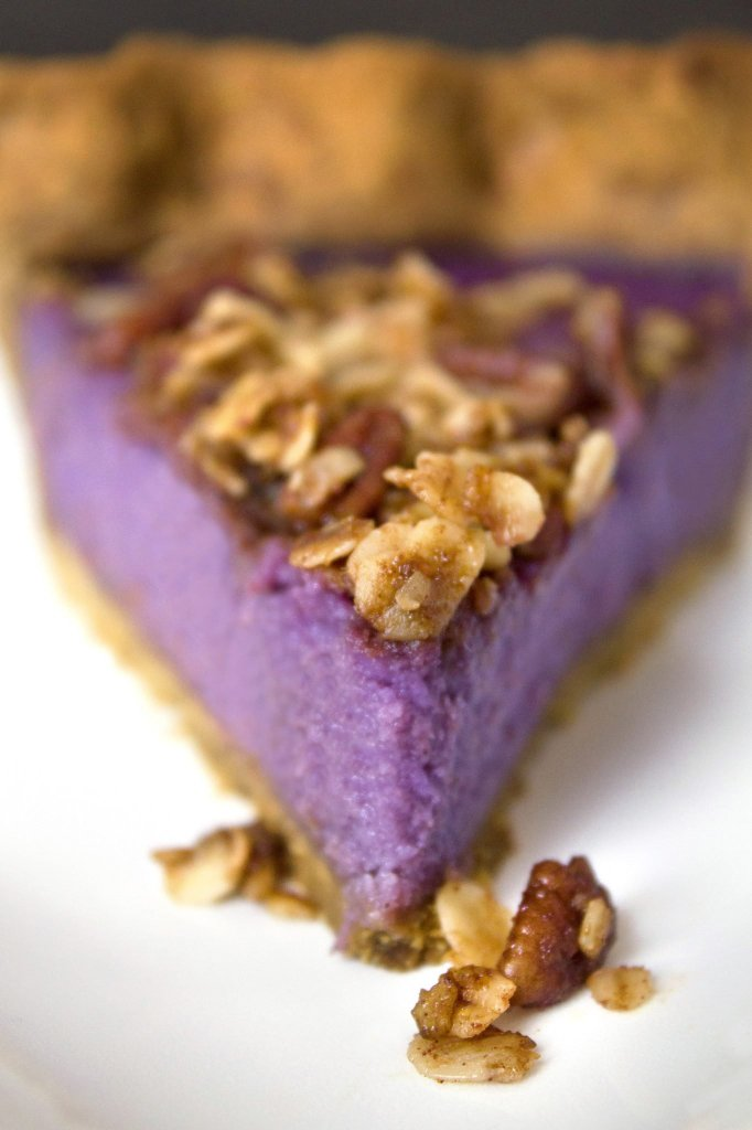 Purple Sweet Potato Pie with a Gingerbread Crust & Pecan Streusel | Refined sugar free. Can also be made gluten and dairy free!