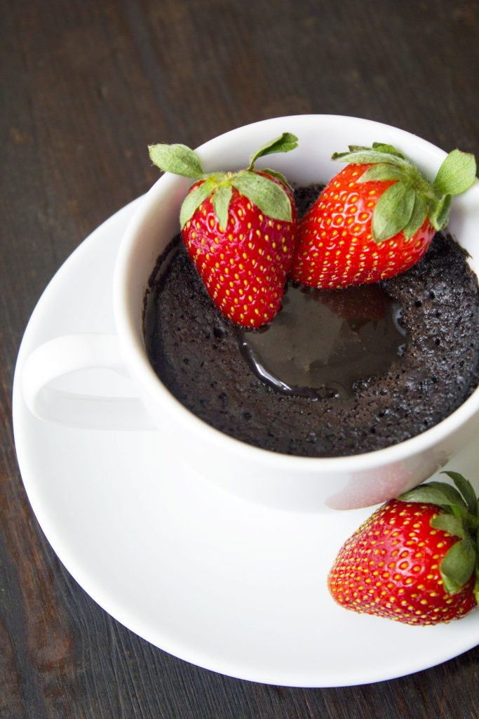 Chocolate Lava Mug Cake With Strawberries
