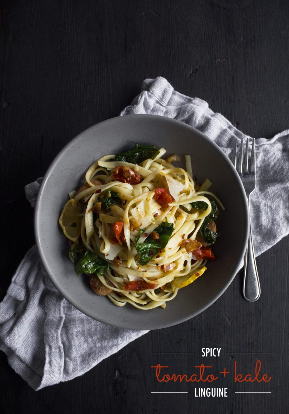 Spicy Tomato and Kale Linguine | A healthy and delicious dinner in less than 30 minutes!