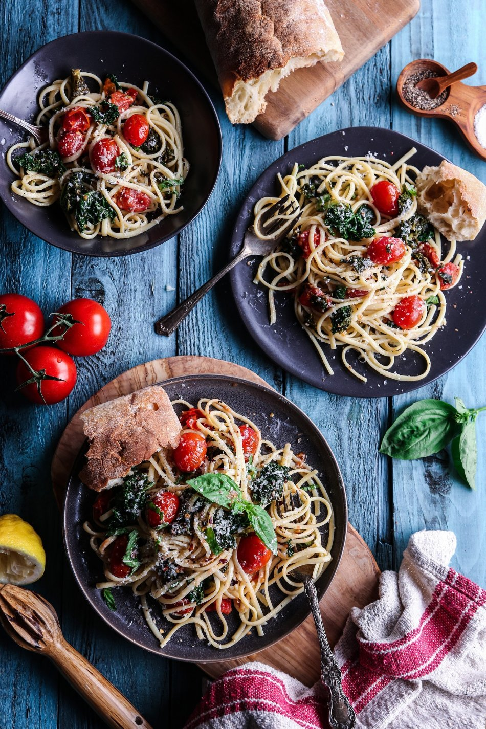 Spicy Tomato and Kale Linguine | Vegan Friendly with Gluten Free Alternative