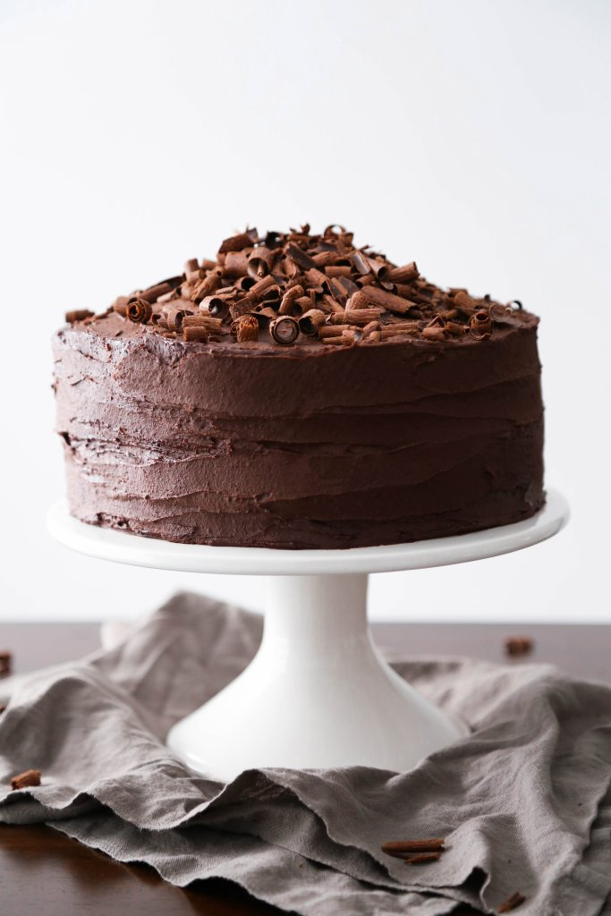 Vegan Chocolate Cake With Whipped Ganache | Gluten free and made with healthier ingredients!