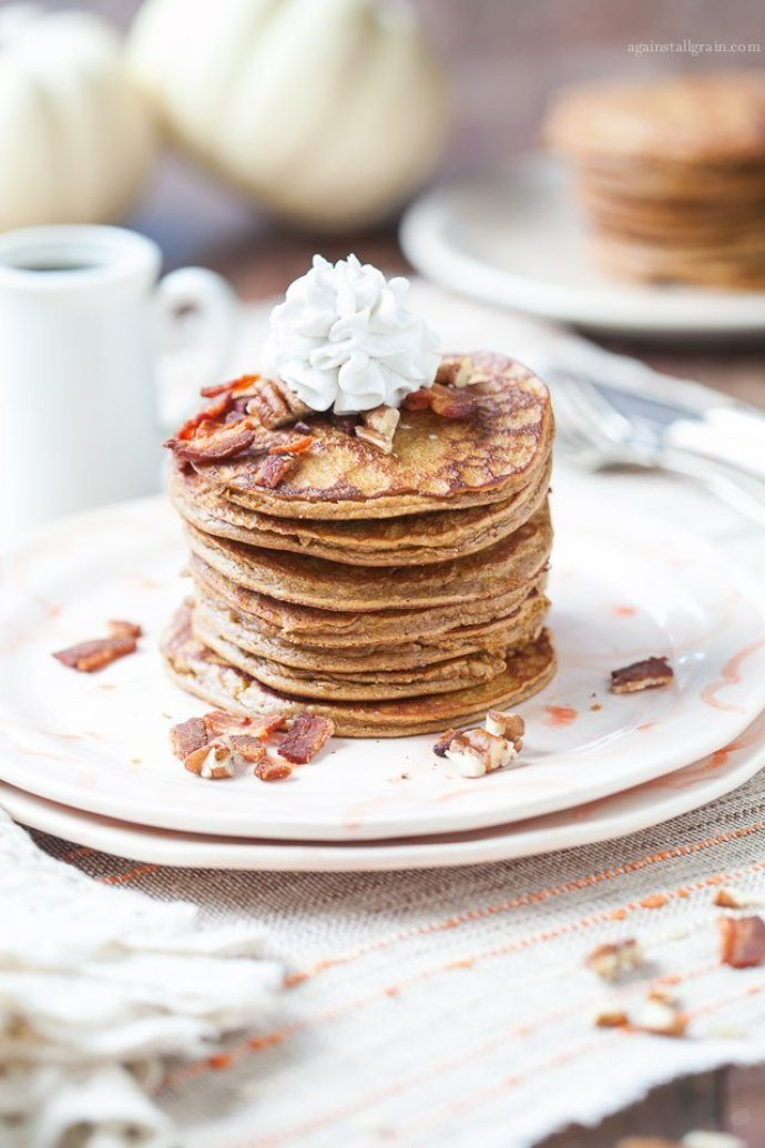 15 Must-Try Healthy Pumpkin Recipes To Celebrate Fall | Gluten-Free Pumpkin Pancakes from Against All Grain