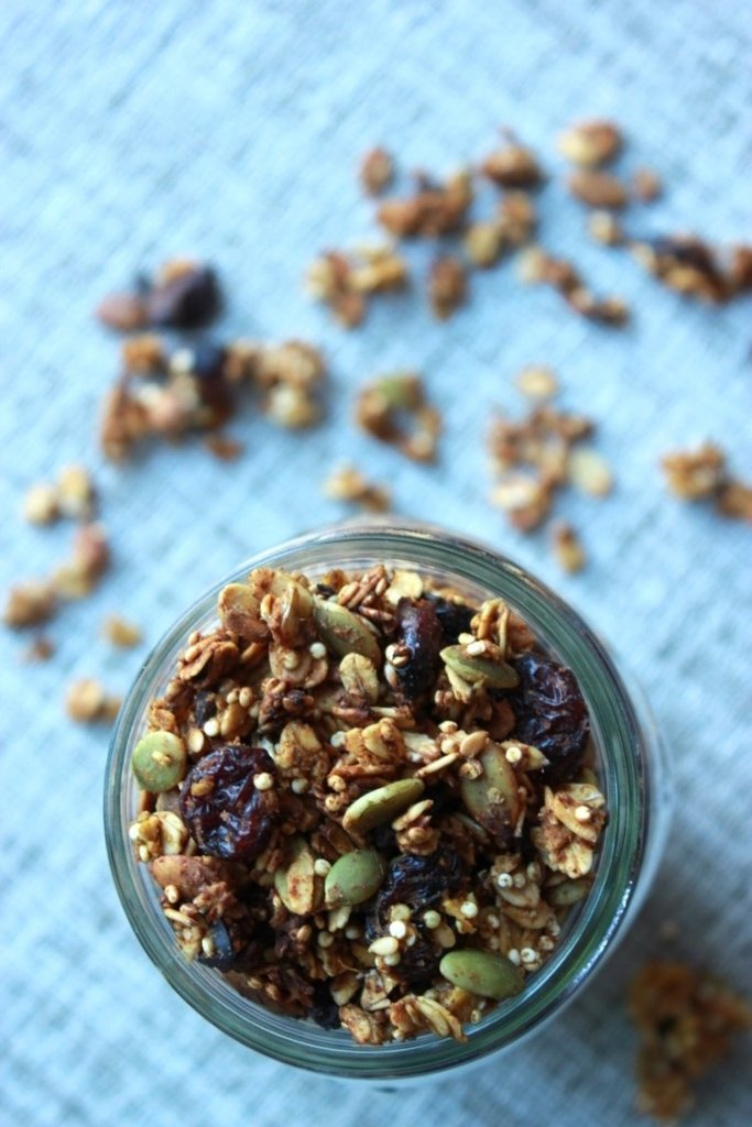 15 Must-Try Healthy Pumpkin Recipes To Celebrate Fall   Pumpkin Oat and Quinoa Granola by Living Minnaly