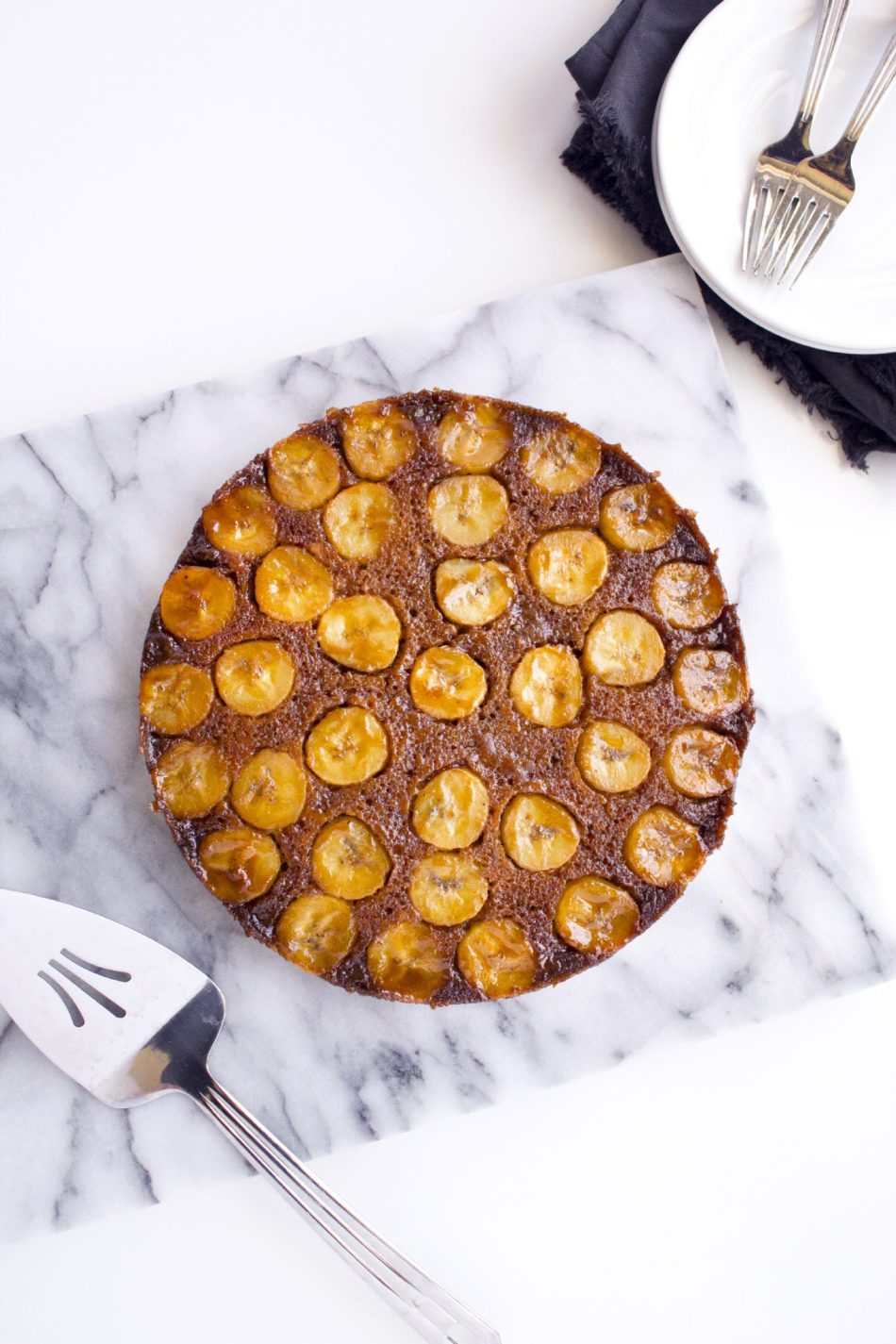 Salted Caramel Banana Upside Down Cake   Refined sugar free and a gluten free variation is also included.