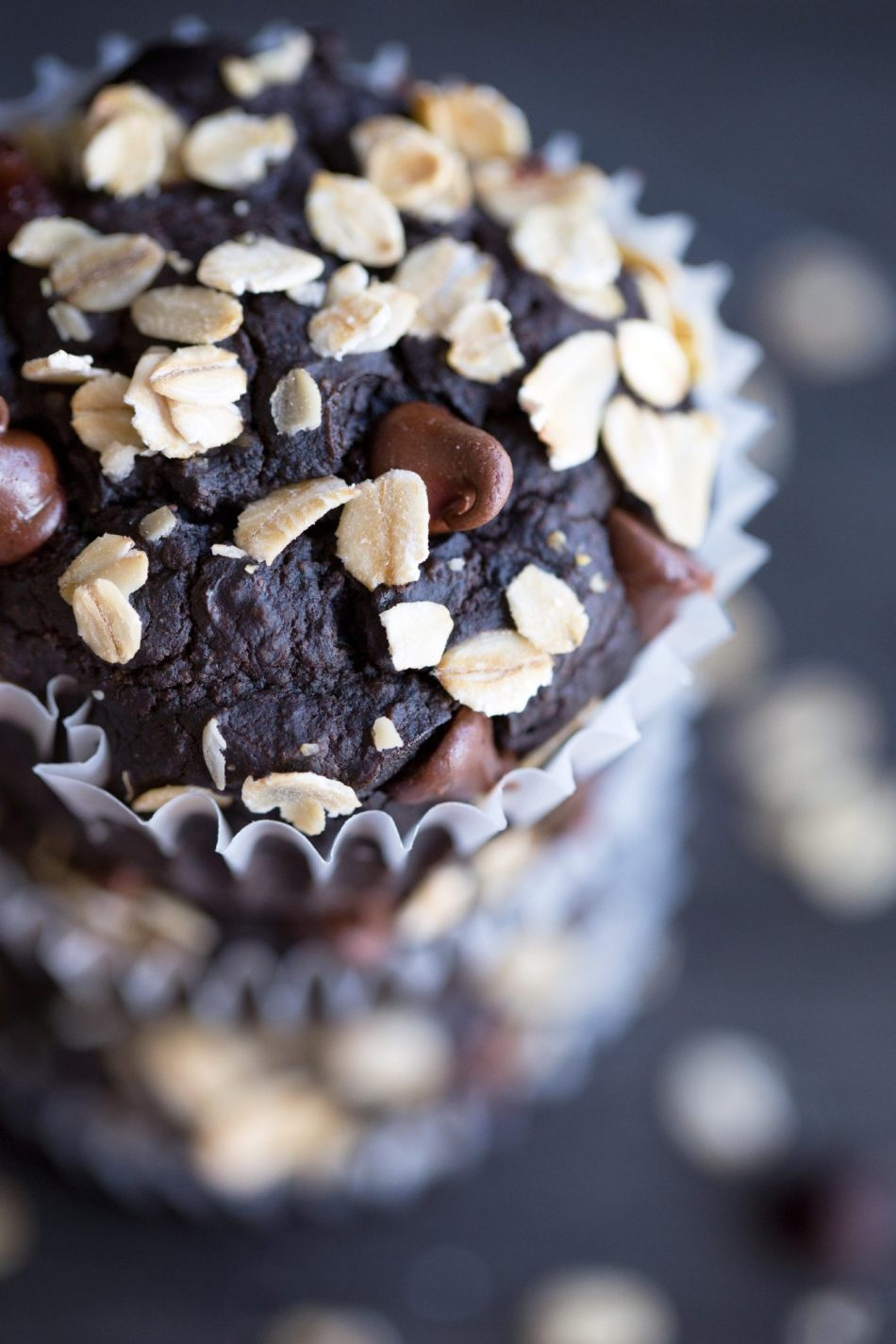 Double Chocolate Zucchini Muffins | Free of gluten, dairy, eggs, and refined sugar.