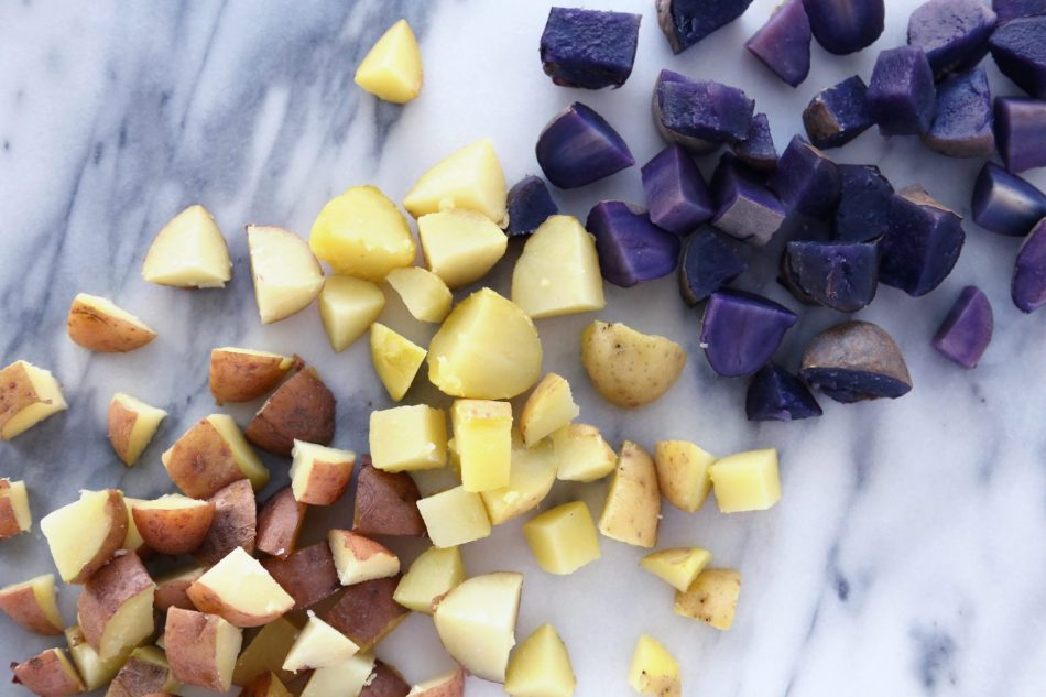 Lemon Aioli Potato Salad with Red, White, & Blue Potatoes | Free of gluten, dairy, eggs, and grains.