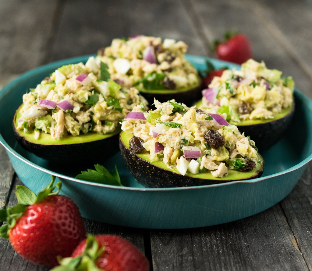 Tahini Tuna Salad Stuffed Avocados from Reclaiming Yesterday