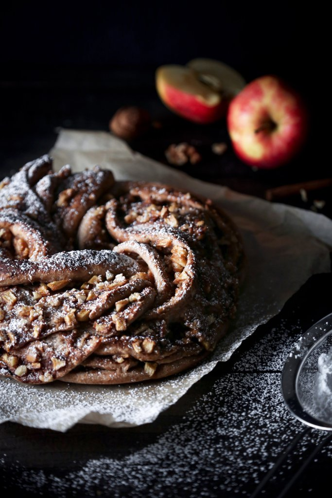 Braided Apple Walnut Bread | Free of dairy, eggs, and refined sugar. Vegan friendly.