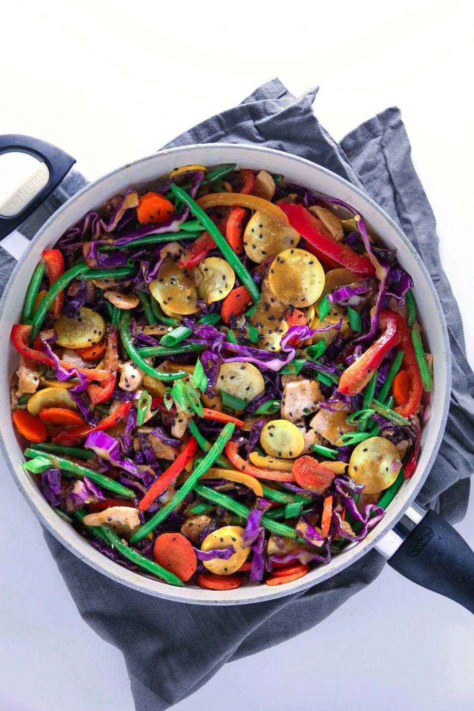 Teriyaki Stir-Fry with Cauliflower Rice | Whole30/paleo friendly. Can easily be made vegan/vegetarian.