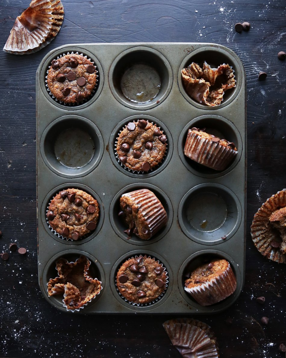 Vegan Chocolate Chip Muffins   Made with coconut sugar and free of gluten, grains, dairy, and eggs.