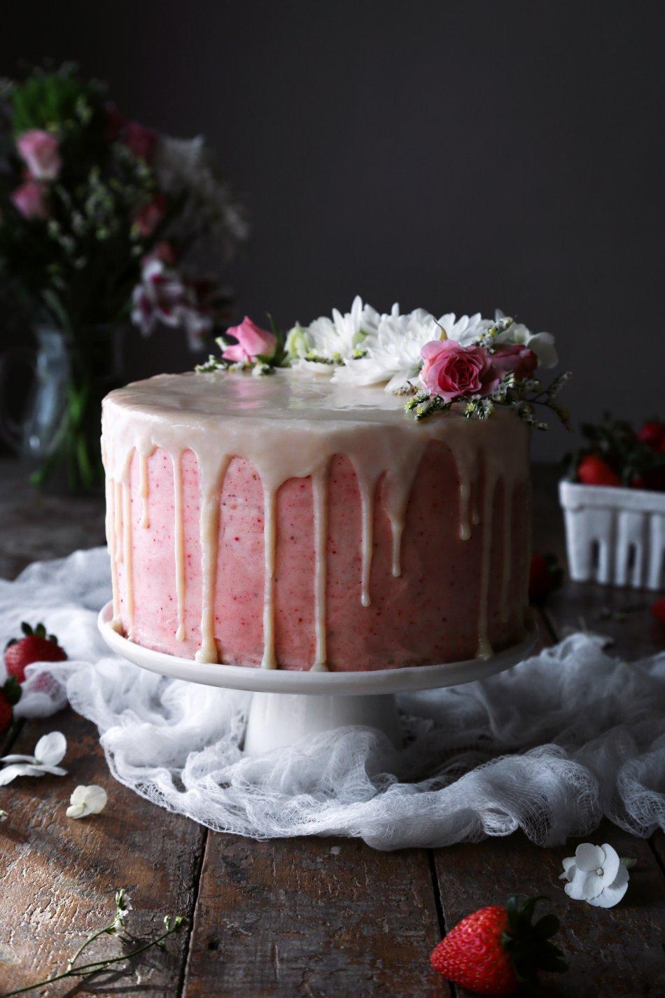 Vegan Vanilla Cake with Strawberry Buttercream | Wife Mama Foodie