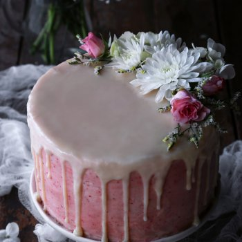Vegan Vanilla Cake with Strawberry Buttercream