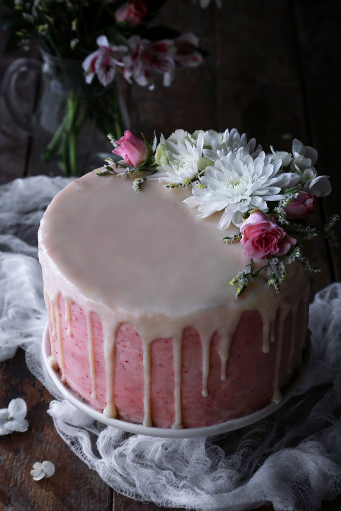 Vegan Vanilla Cake with Strawberry Buttercream | Gluten-free variation included!
