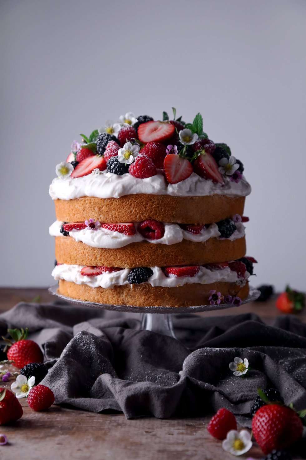 Lemon Layer Cake with Fresh Berries