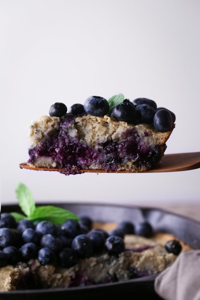 Blueberry Oat Skillet Pancake | Gluten and Dairy Free