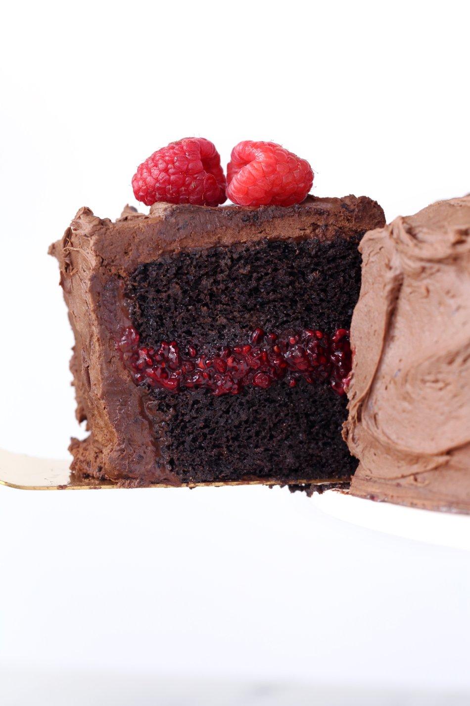 Chocolate Raspberry Layer Cake   Gluten & Dairy Free. Vegan Friendly.