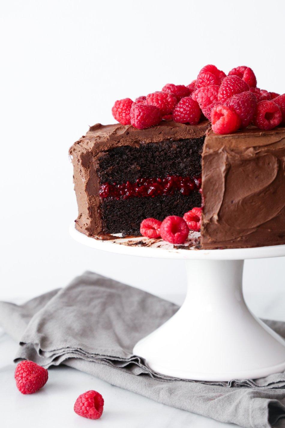 Chocolate Raspberry Layer Cake | Gluten & Dairy Free. Vegan Friendly.