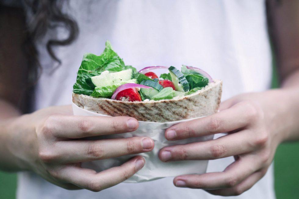 Greek Salad Stuffed Pitas | Only a few ingredients. Vegan & Vegetarian.