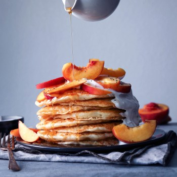 Vegan Pancakes with Peaches and Cream