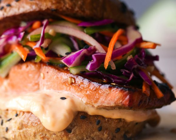 Asian Salmon Sandwiches with Sesame Slaw