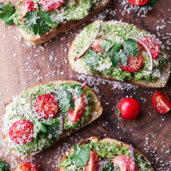 Hazelnut Pesto Bruschetta with the Hestan Cue