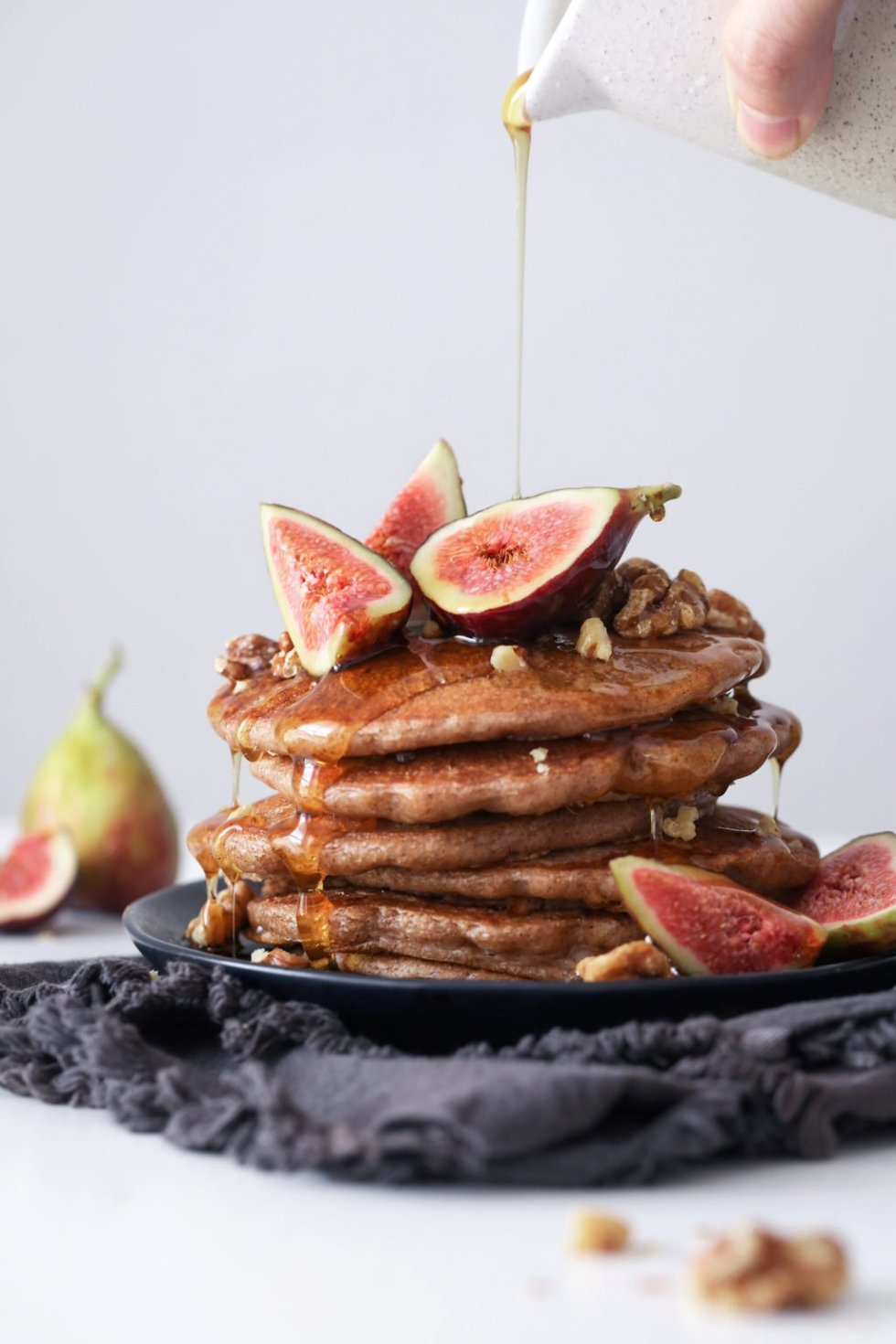 Chai Spiced Pancakes with Fresh Figs | Vegan friendly and free of gluten, dairy, and refined sugar!