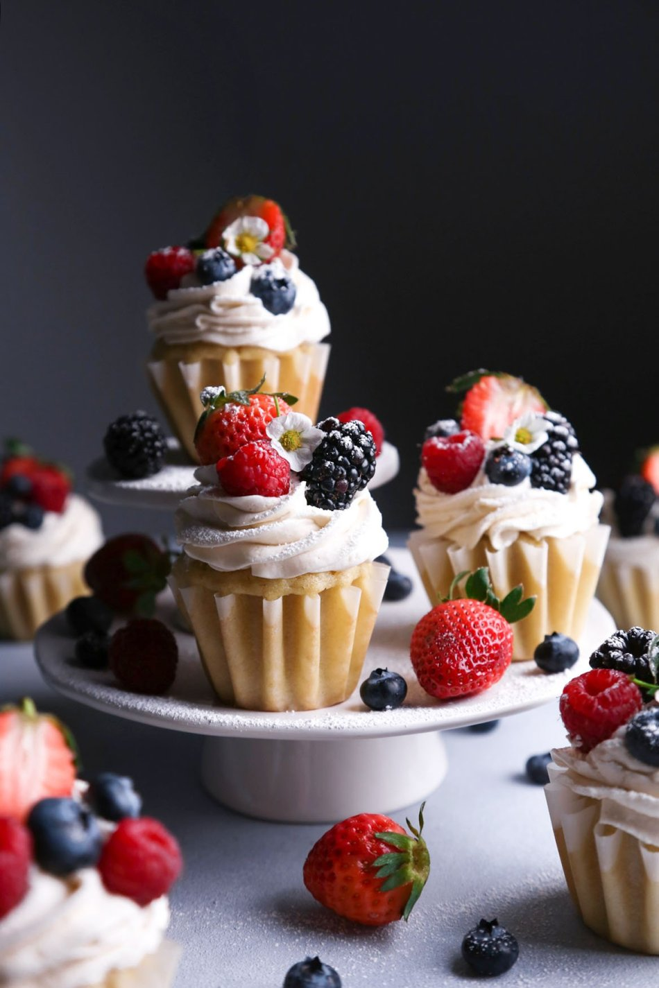 Vegan Vanilla Cupcakes with Fresh Berries   Gluten-Free Version Included   Wife Mama Foodie