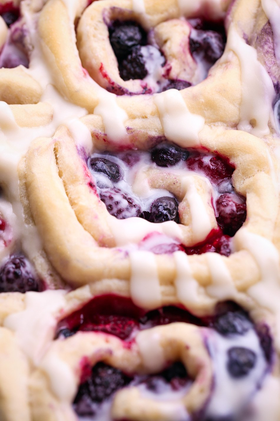 Triple Berry Sweet Rolls | Vegan friendly with refined sugar free option.