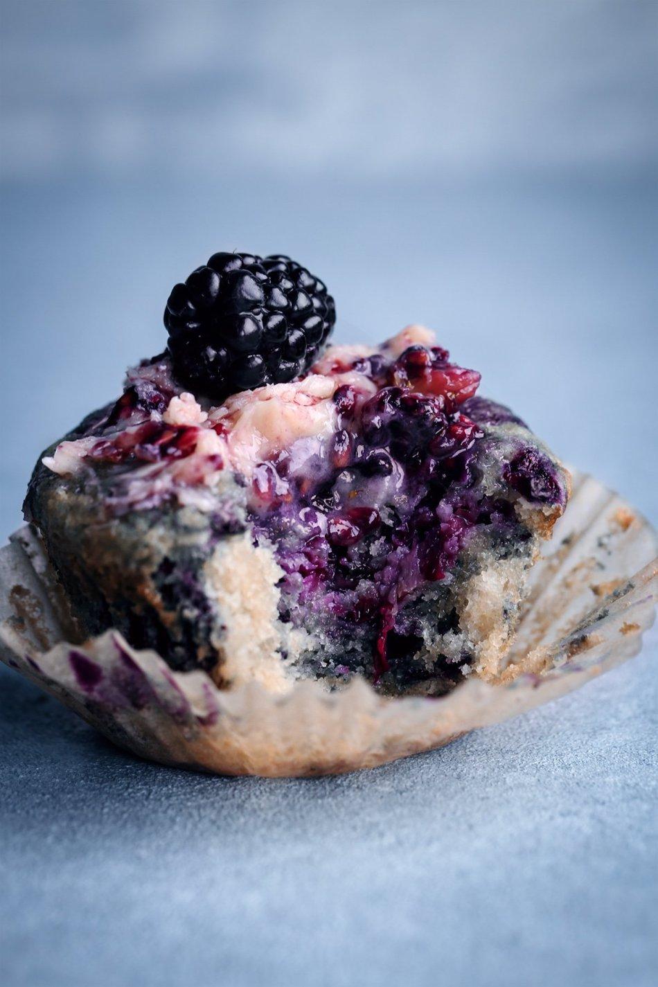 Lemon Blackberry Muffins   Vegan with Gluten-Free Option