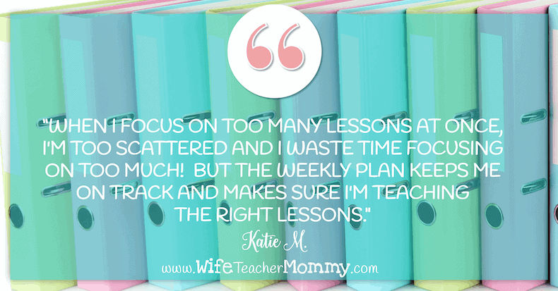 Teacher Planning Quote #1: I focus on one lesson at a time so that I don't feel scattered.