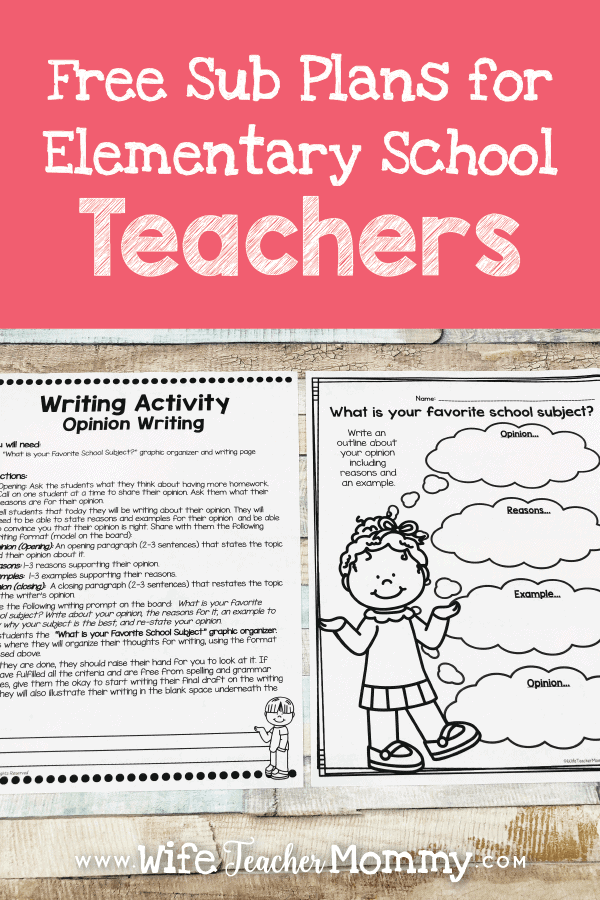 free sub plans for elementary teachers