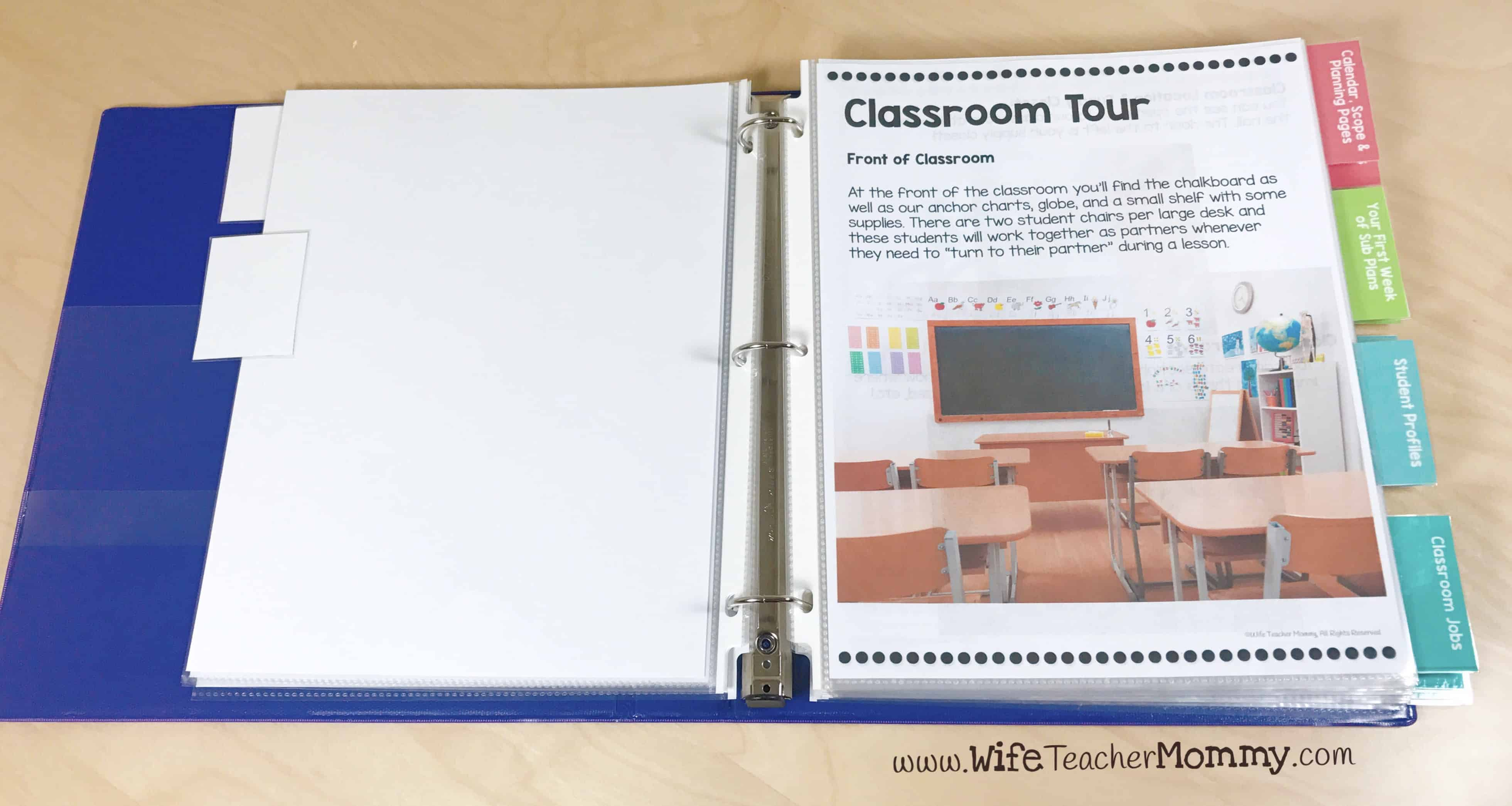 Give your maternity sub a classroom tour! This will help them learn their way around from the classroom, and in this format they will be able to refer back to it as well.