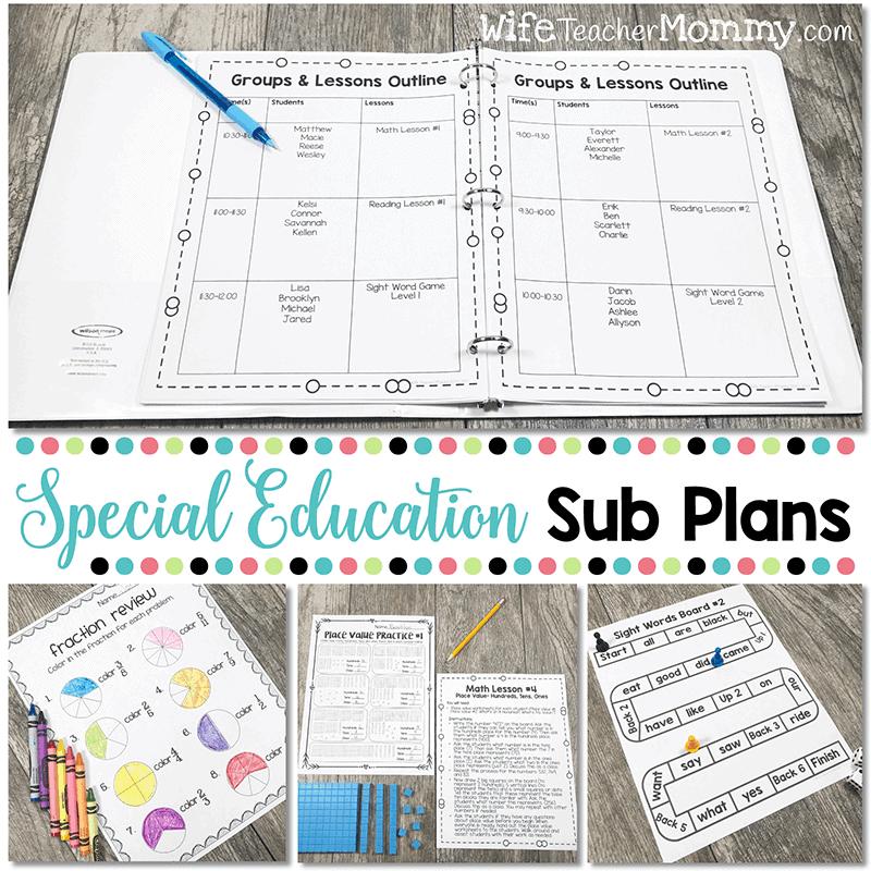 Special Education Sub Plans Bundle