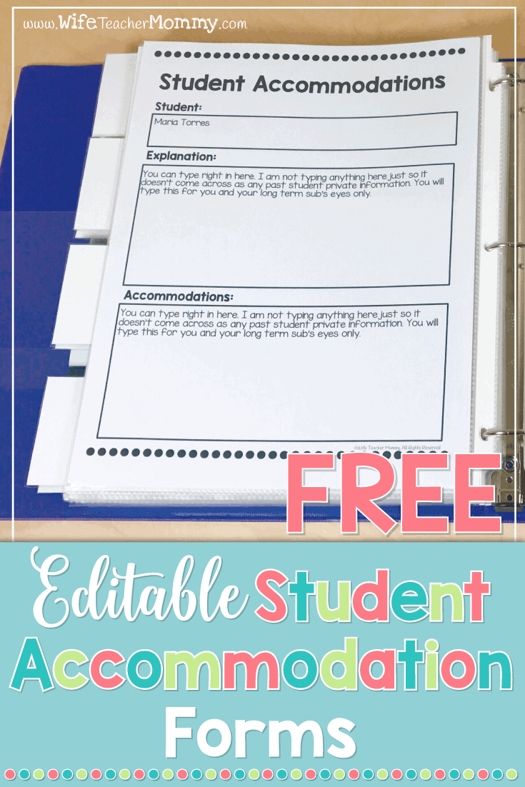 FREE Student Accommodation forms! These are perfect for special education teachers and elementary school teachers. Keep track of accommodations for yourself, substitutes, paraprofessionals, and student teachers. #teacherfreebie