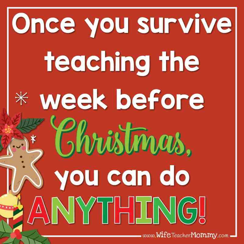 Once you survive teaching the week before Christmas, you can do anything!