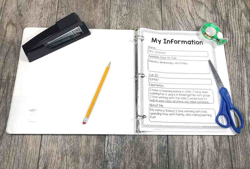Keep multiple copies of your substitute information handy to give to teachers when you sub.