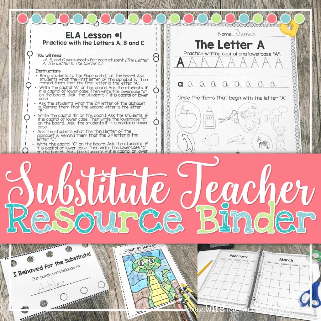 Substitute Teacher Resource Binder