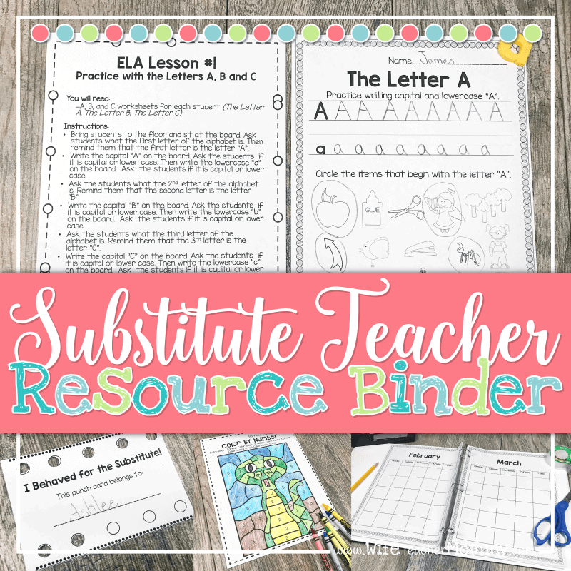 Be prepared for substitute teaching with the Substitute Teacher Resource Binder! This bundle has absolutely everything you'll need for substitute teaching in Kindergarten through 6th grades!