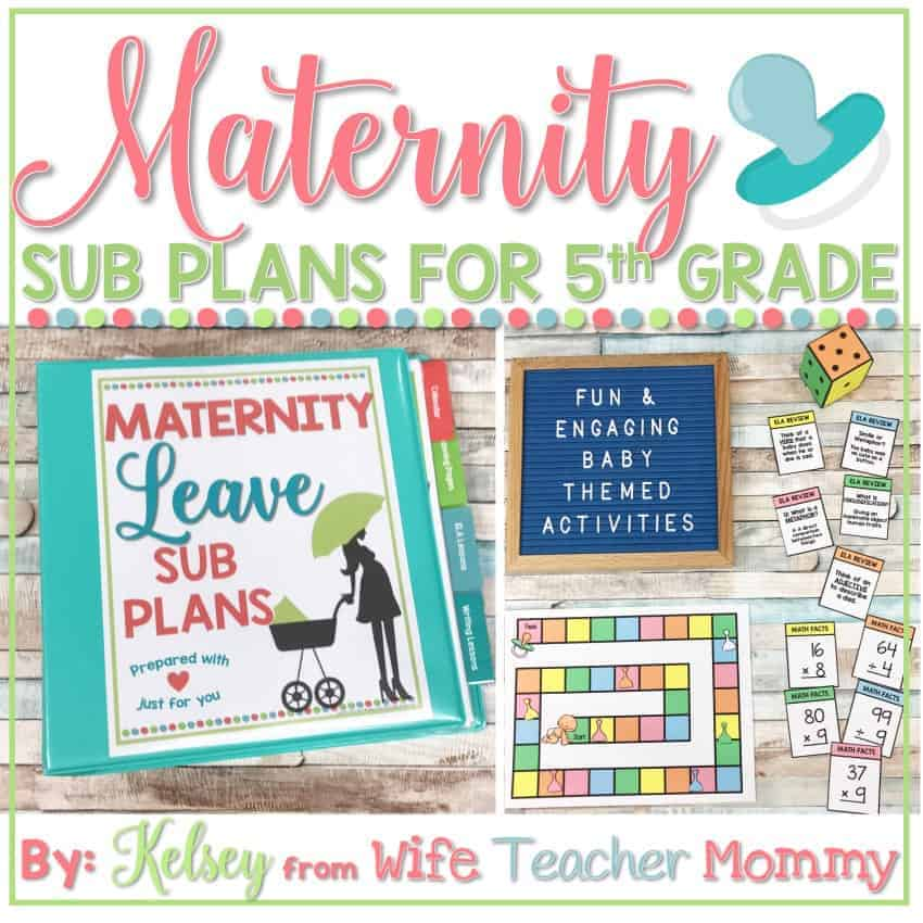 maternity leave sub plans 5th grade