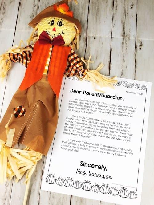 editable parent letter thanksgiving writing