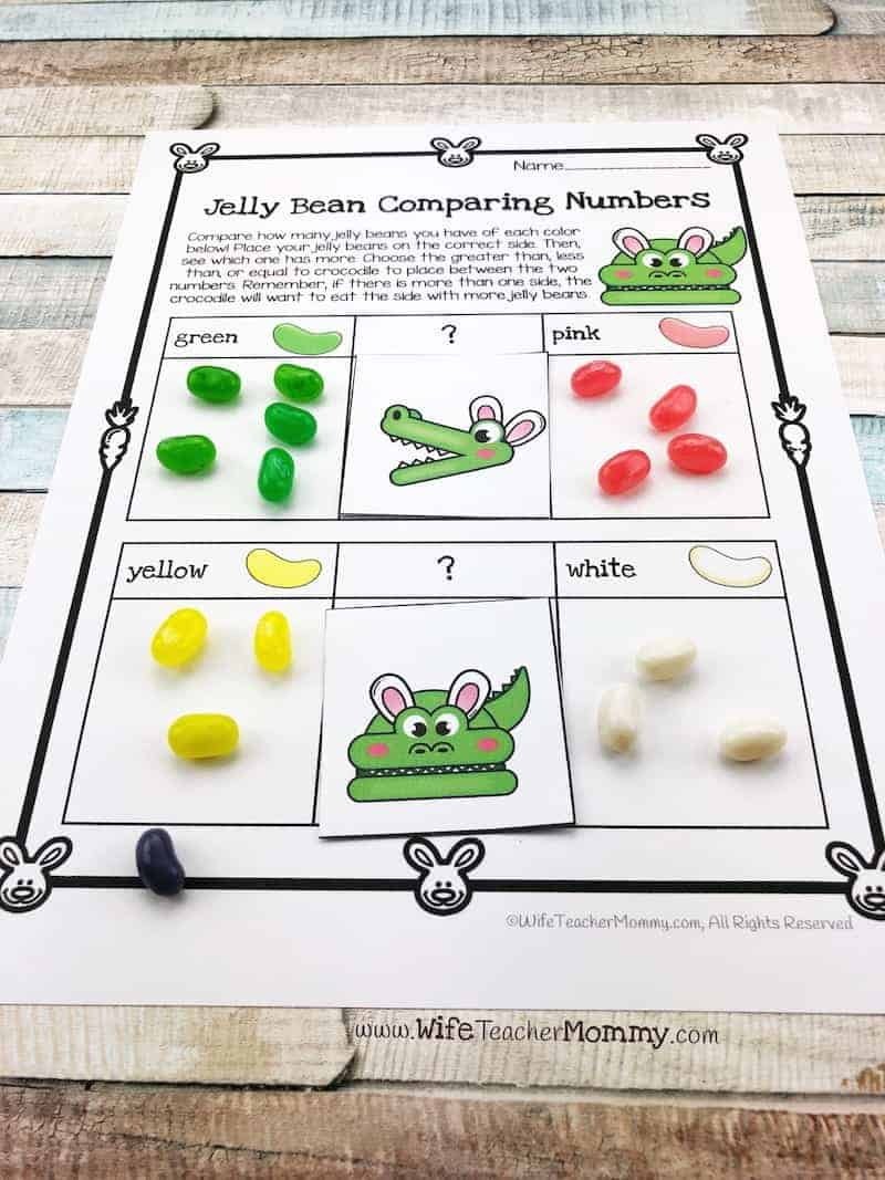 Comparing numbers with jelly beans is such a fun Easter teaching idea that kids will love!