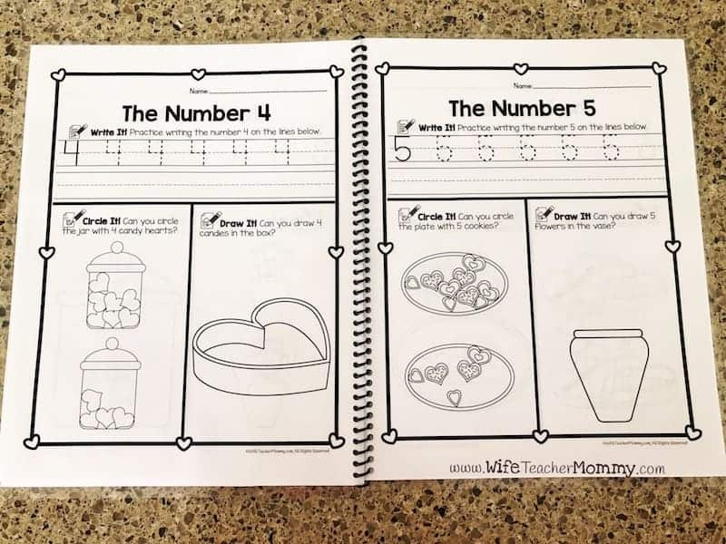 Valentine's Day number writing worksheets 0-20 for preschool, pre-k and kindergarten teachers! These printable worksheets are a great way for students to practice penmanship. Great for your classroom or homeschool. You can also use for just 1-10 or 11-20 number worksheets. Make a great number journal! #prek #preschool #kindergarten