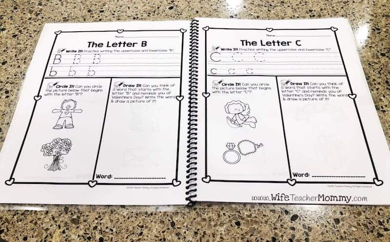 Alphabet handwriting practice A-Z for preschool, pre-k and kindergarten! These printable alphabet worksheets are a great way for students to practice penmanship. These are perfect letter writing worksheets for your classroom or homeschool! They are great for February homework, centers, or independent work. #prek #preschool #kindergarten