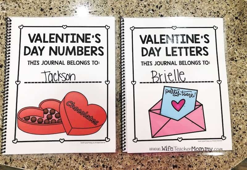 Valentine's Day letter and number writing practice for preschool, pre-k, and kindergarten. These printable Valentine's Day handwriting worksheets can be put together into journals. They are a great way to improve alphabet writing and number writing for penmanship. A-Z and 0-20 activities. #prek #kindergarten