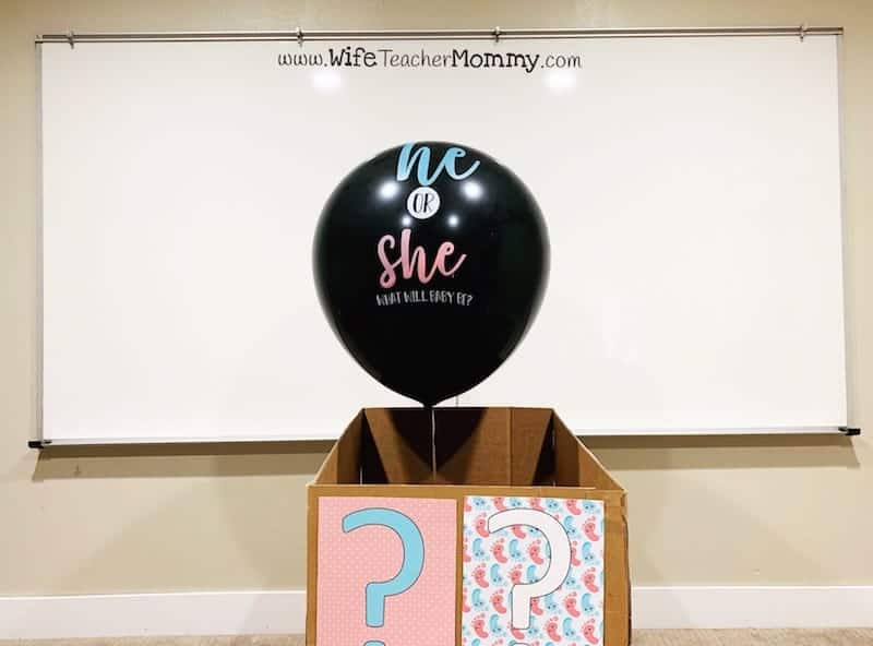 Doing a gender reveal in your classroom is easy with these fun printables! Decorations are included for the box, banners, and more for your classroom gender reveal party. Read more about how to do a gender reveal or pregnancy announcement in your classroom.