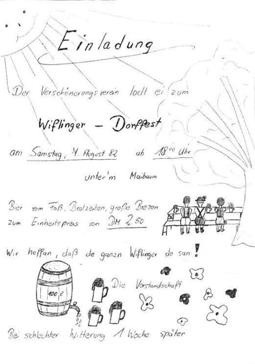 Plakat aus den Vereinsunterlagen des Verschönerungsvereins Wifling