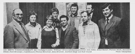 Gründungsmitglieder des Verschönerungsvereins Wifling