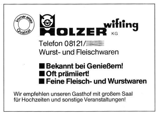 Anzeige aus der Festschrift des Krieger- und Soldatenvereins Wörth von 1984