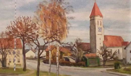 Bild der Wiflinger Kirche | hängt in der ehem. Wirtschaft Holzer